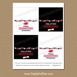 Printable Treat Bag Toppers Graduation Quarantine Black White Red
