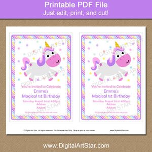 Printable Unicorn Party Invitation Download for 1st Birthday Party