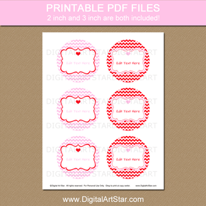 Printable Valentine Stickers for Valentine Treat Bags Red Pink Chevron