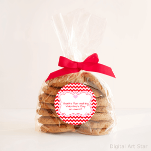 Printable Valentines Day Cookie Bag Labels Red Chevron