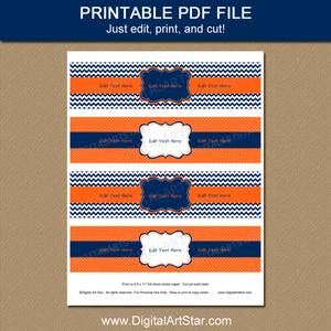 Printable Water Bottle Labels Navy Orange White