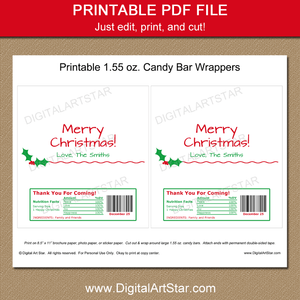 Printable White Christmas Candy Bar Wrapper Template with Holly