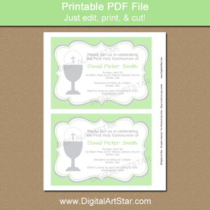 Green Communion Invitations for Boys and Girls