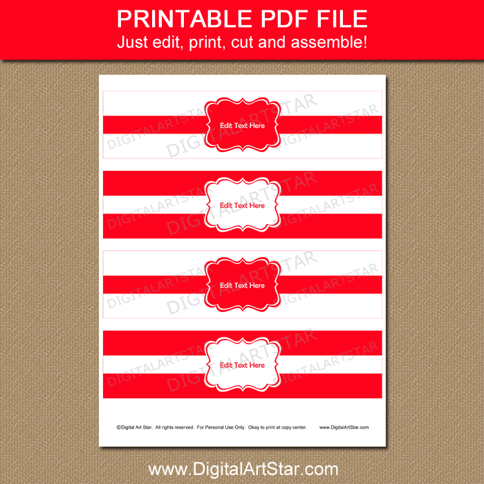 image relating to Water Bottle Labels Printable identified as Crimson and White Drinking water Bottle Labels Printable