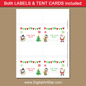 Printable Place Cards for Christmas Party