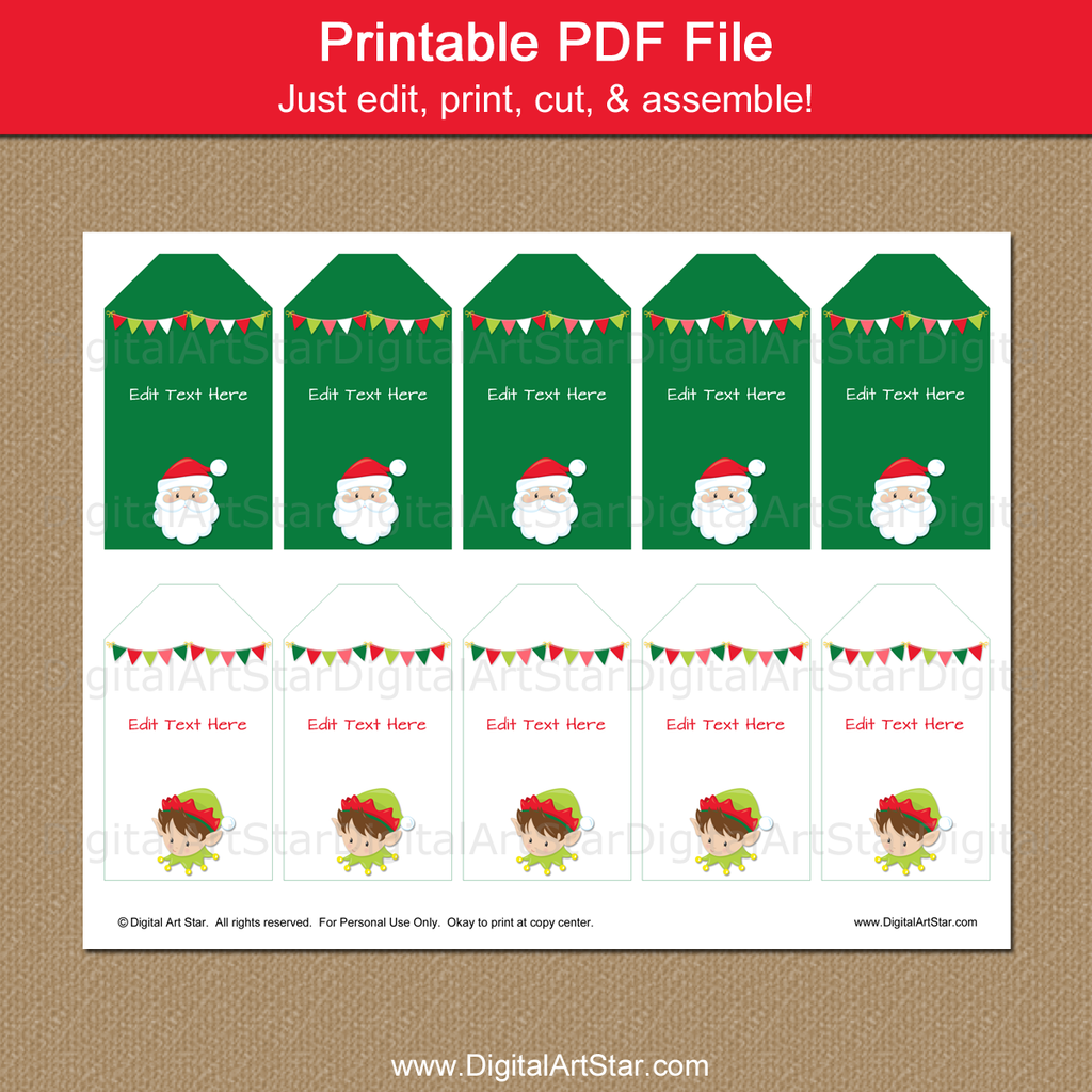 printable Christmas tags with Santa and Elf