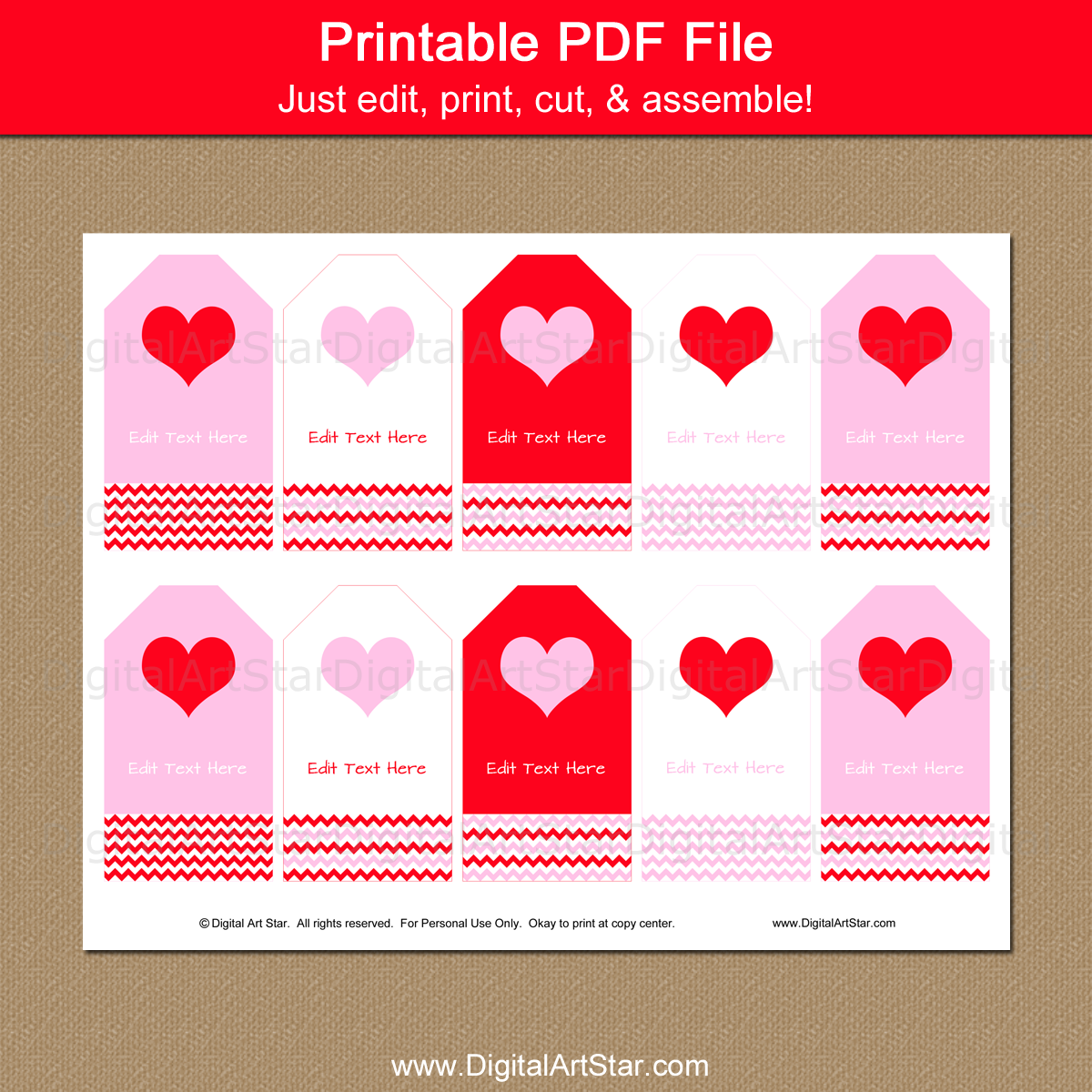 photo about Printable Valentine Tags referred to as Purple and Pink Valentine Tag Template
