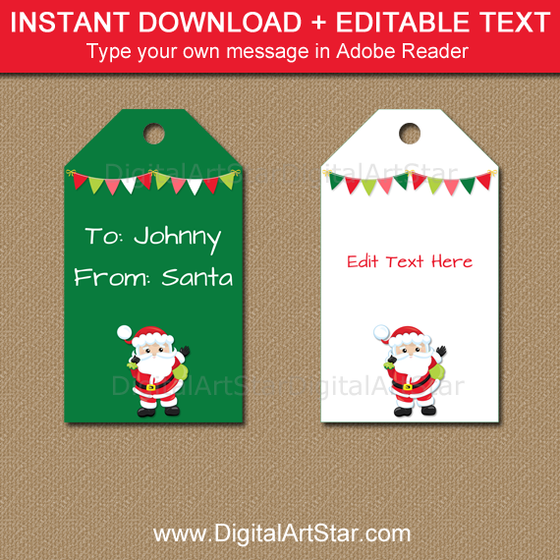 printable santa gift tags in green and white