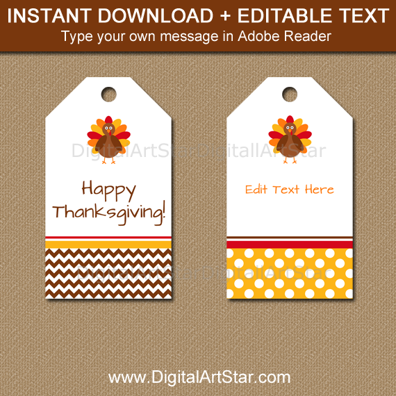 Editable Thanksgiving Tag Template with Chevron and Polka Dots