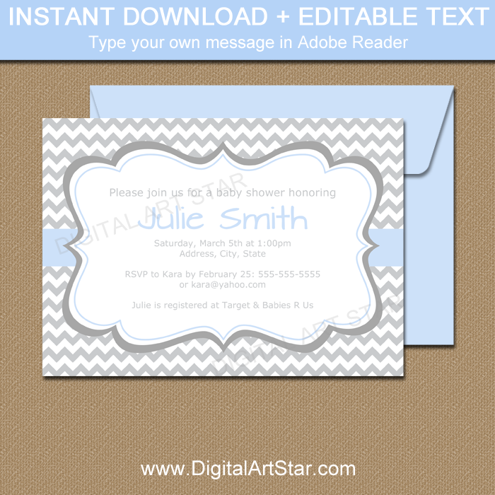 graphic relating to Printable Baby Boy Shower Invitations named Printable Little one Shower Invitation Template - Grey Chevron and Boy or girl Blue Accents