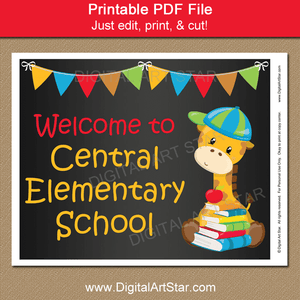Welcome to School Chalkboard Sign Template