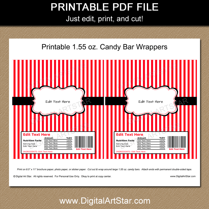 graphic about Printable Hershey Bar Wrappers named Printable Chocolate Wrapper Template - Crimson and White Stripes with Black Accents