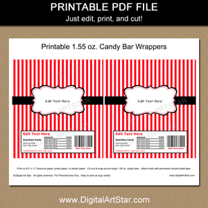 Candy Bar Wrapper Template - Red and White with Black Accents