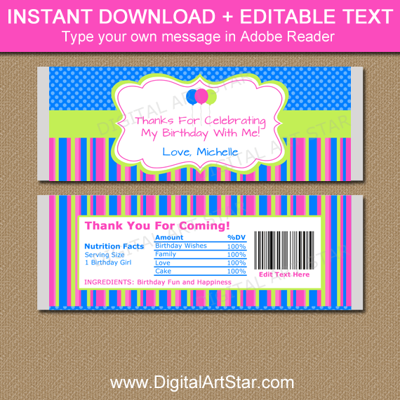 Birthday Party Favors - Printable Candy Wrappers Pink Blue Lime