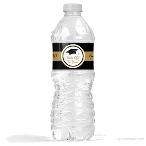 2020 Graduation Water Bottle Stickers Black and Gold