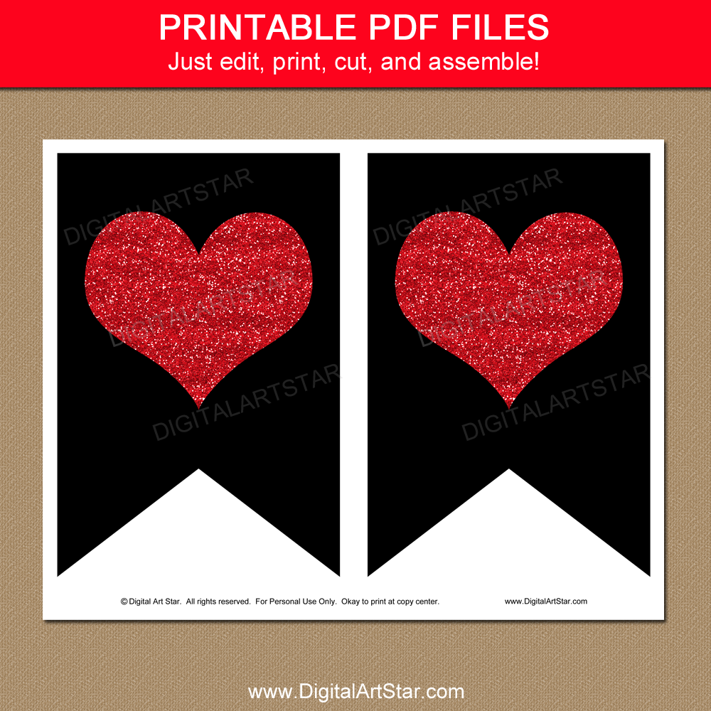 Black and Red Heart Banner Printable