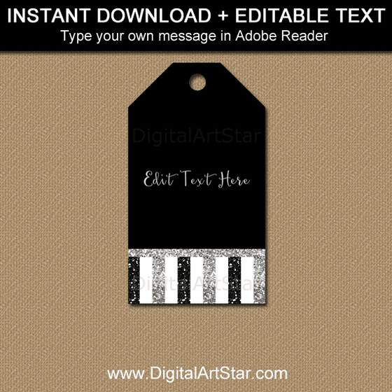 Editable Favor Tag Template Black and Silver Glitter Stripes