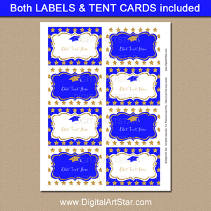 Graduation Printable Labels Royal Blue and Gold Glitter Stars