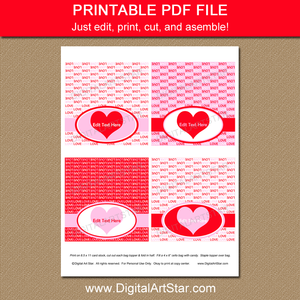 Printable Valentine Candy Bag Topper Template