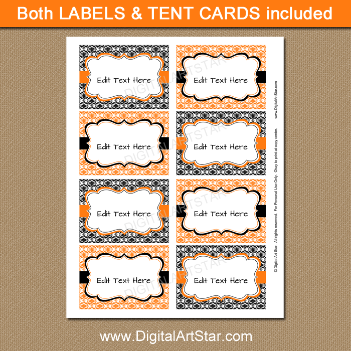 Printable Halloween Food Labels