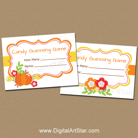 Printable Fall Candy Guessing Game