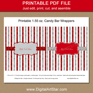 Red and Silver Christmas Candy Bar Wrappers