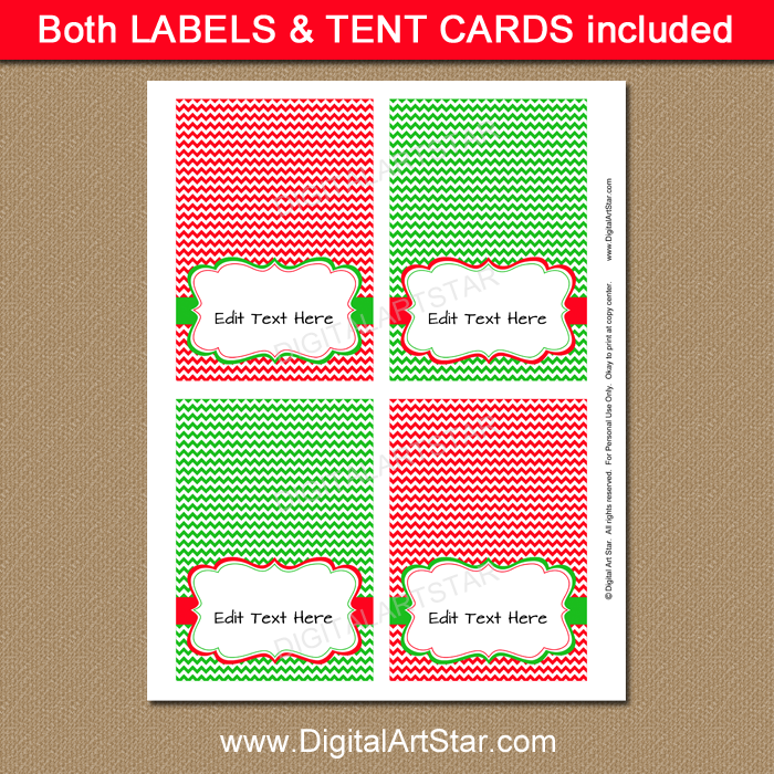 Christmas Buffet Cards with Editable Text