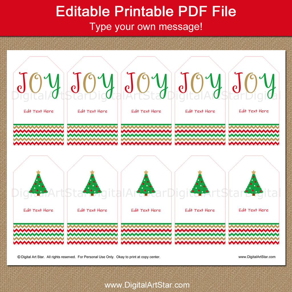 editable Christmas tag download