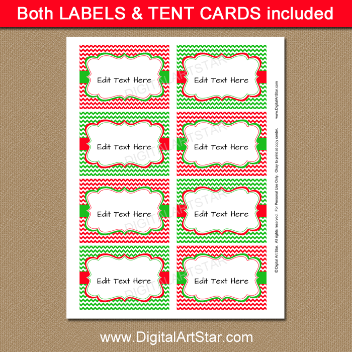 Buffet Cards for Christmas Party by Digital Art Star