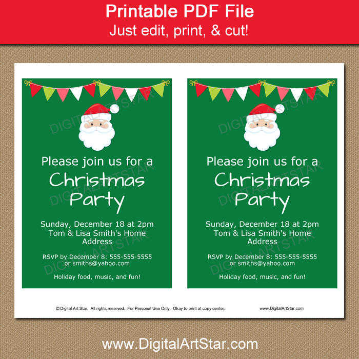 Secret Santa Invitation Template Printable