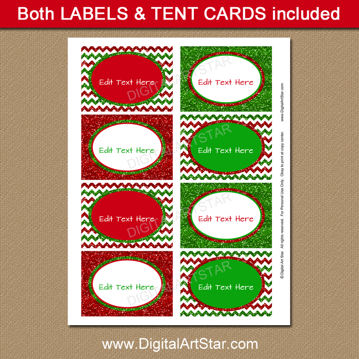 Printable Christmas Labels - Glitter Labels