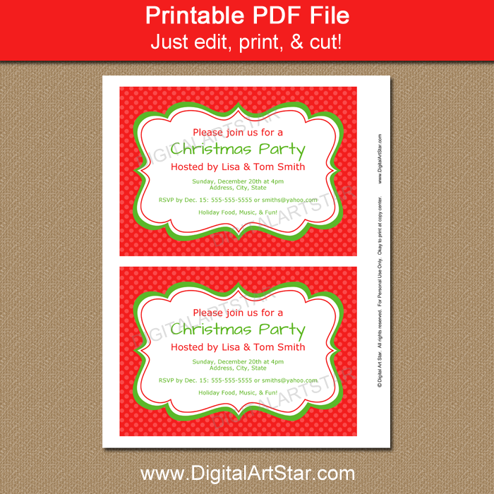 photograph relating to Printable Christmas Party Invitations referred to as Printable Xmas Occasion Invitation - Crimson Xmas Invitation