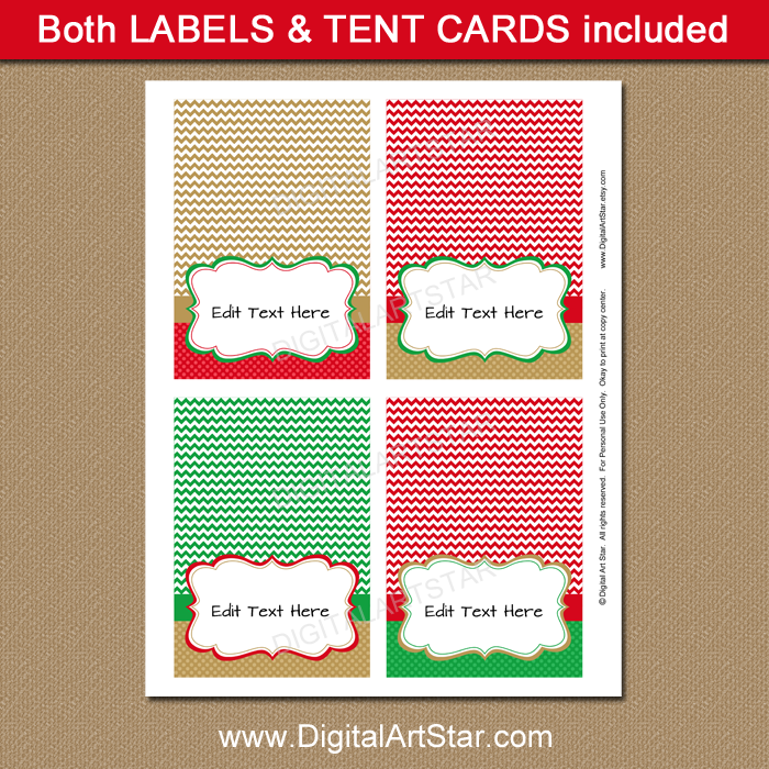 Red Green And Gold Christmas Place Card Printable Digital Art Star - Christmas place cards template
