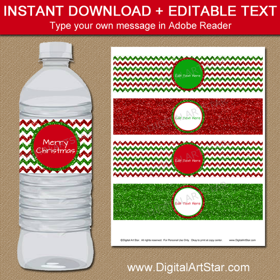 Super Christmas Water Bottle Labels - Holiday Party Ideas - Digital Art Star NF05
