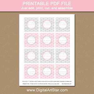 Printable Pink and Silver Cupcake Toppers