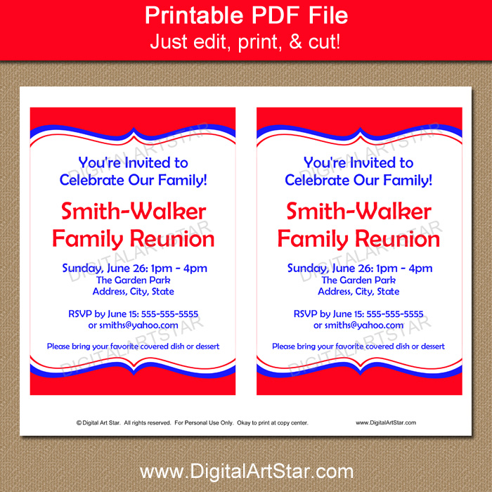 Printable Family Reunion Invitation Template