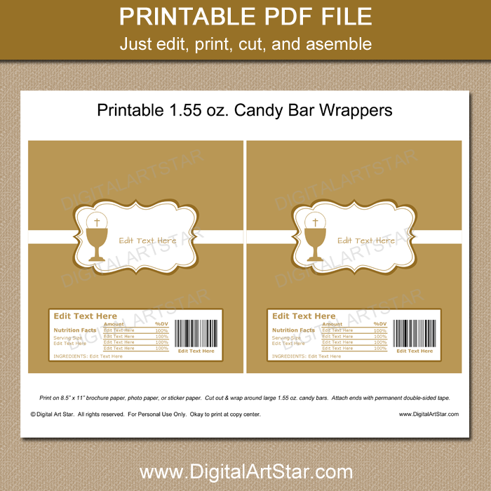 Printable Communion Chocolate Wrappers
