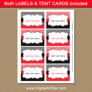Printable Labels Red and Black