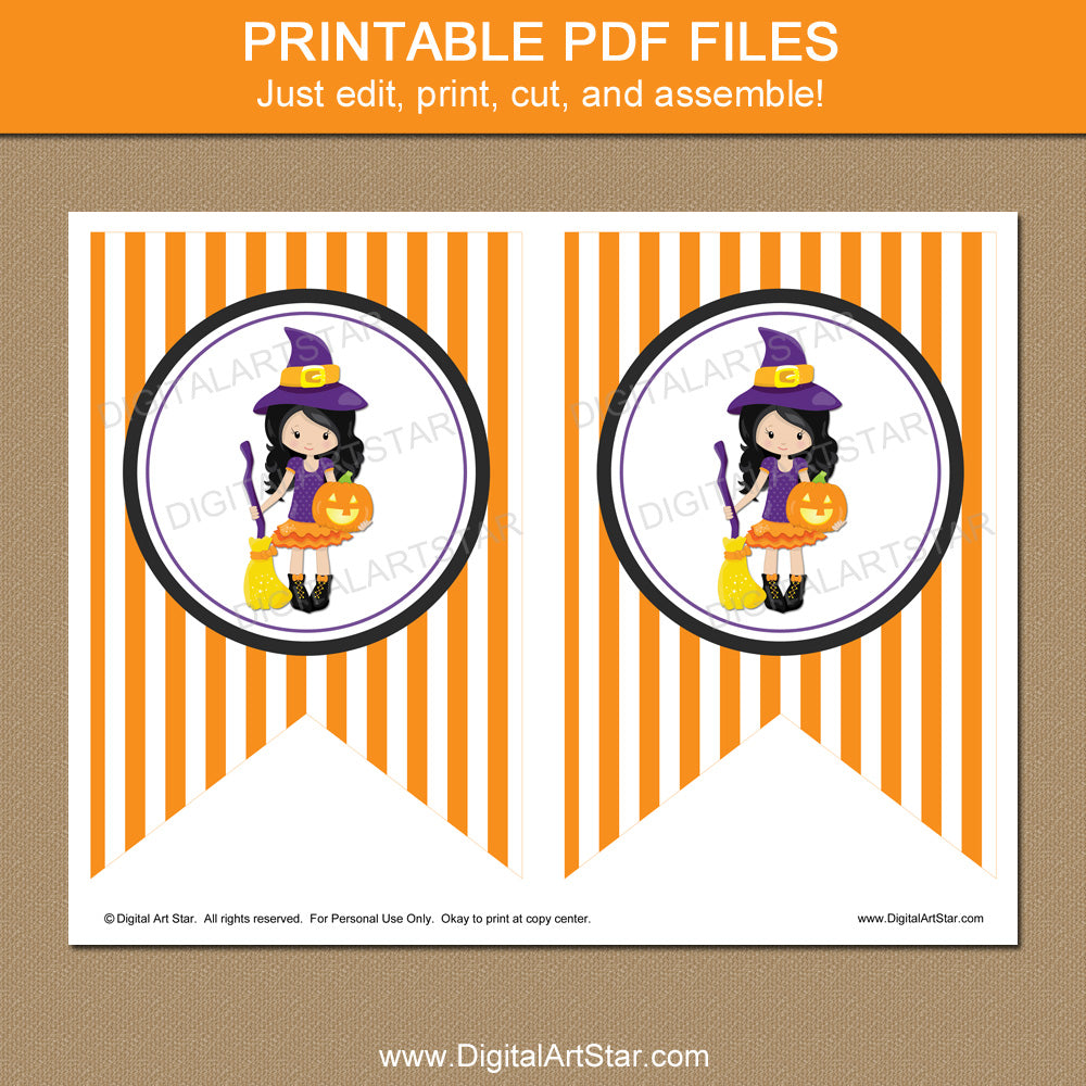 image about Printable Halloween Banners called Printable Halloween Banner with Witch