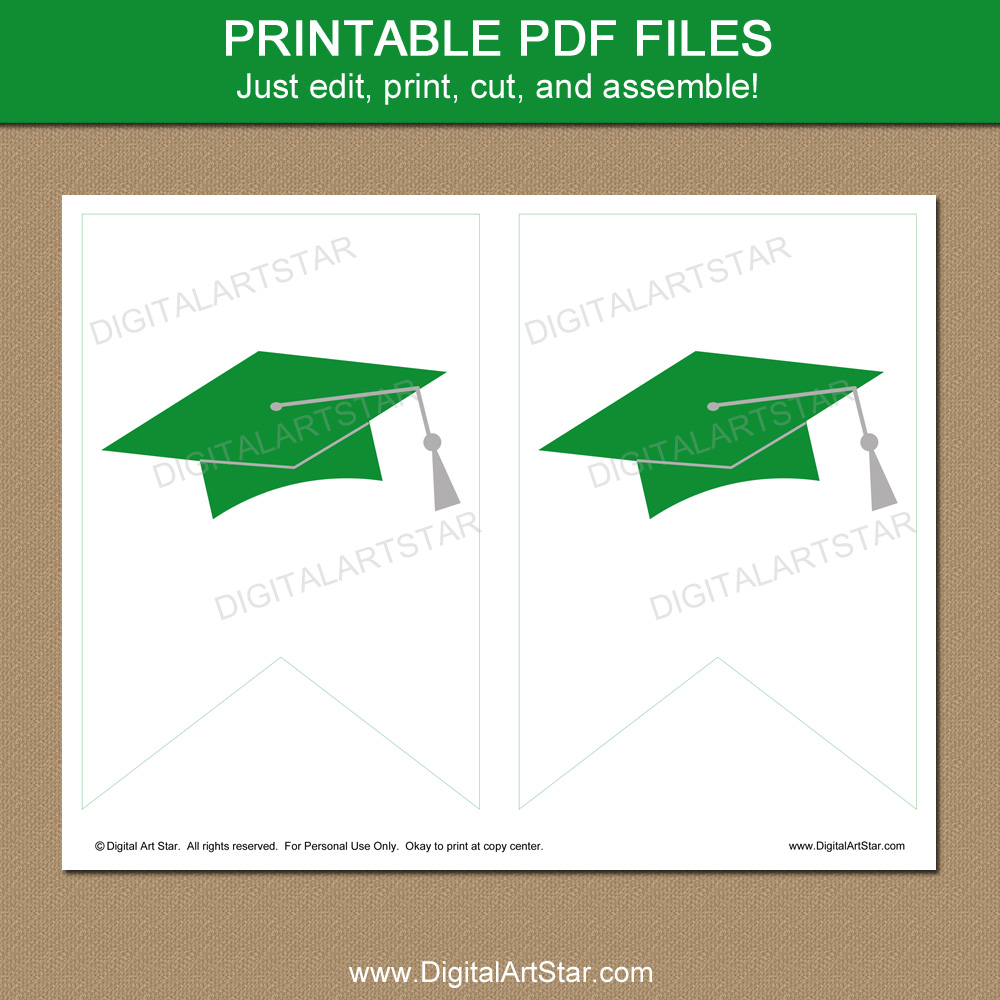 Printable Green and White Graduation Decorations