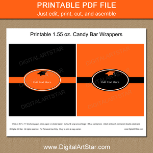 Printable Graduation Candy Bar Wrappers Orange and Black