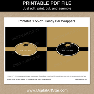 Black and Gold Graduation Printable Candy Wrappers