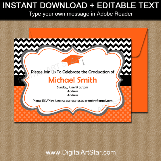 Downloadable Graduation Invitation Template with Editable Text