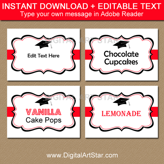 Graduation Candy Buffet Labels with Editable Text