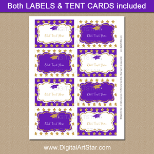 Purple and Gold Star Graduation Food Labels Printable