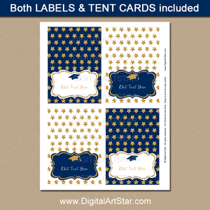 Navy Blue and Gold Star Graduation Tent Cards