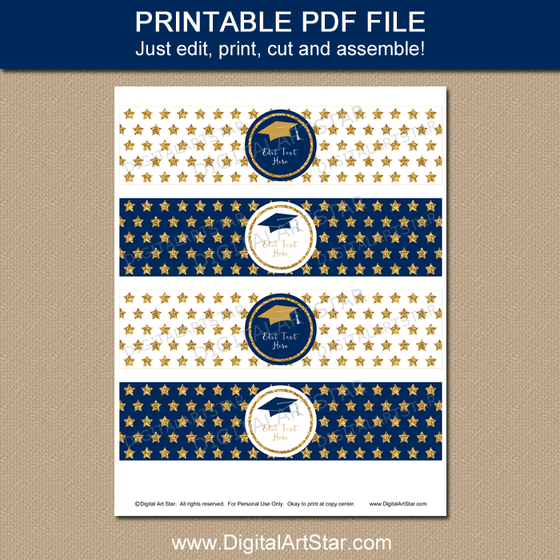 Printable Graduation Water Bottle Labels - Kelly Green and Navy