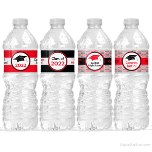 Printable Graduation Water Bottle Stickers Red Black White