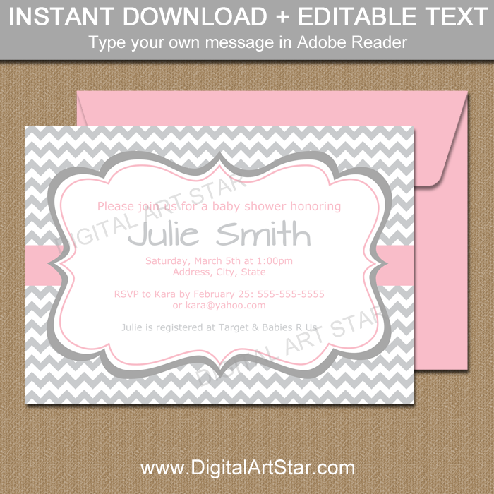 Gray and Pink Baby Shower Invitation Template Digital Art Star