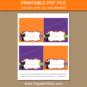 Printable Halloween Favor Bag Toppers Template